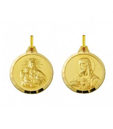 Escapulario de oro amarillo en 18 quilates con la imagen de la Virgen del Carmen y el Sagrado Corazón de Jesús. - 18.1000575/24