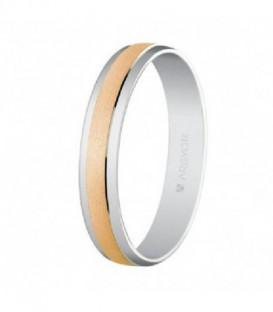 Alianza oro 1ª ley 4 mm ancho oro rosa/mate centro oro blanco/brillo costados - 5C40044/19